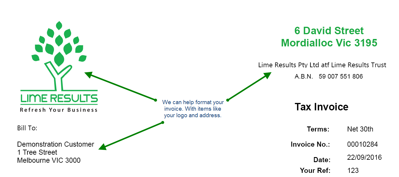 MYOB Invoices Form